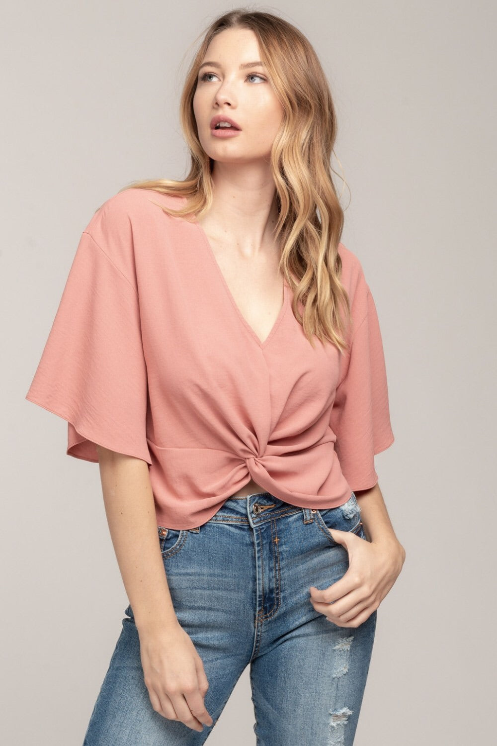 Leila Knot Top in Blush