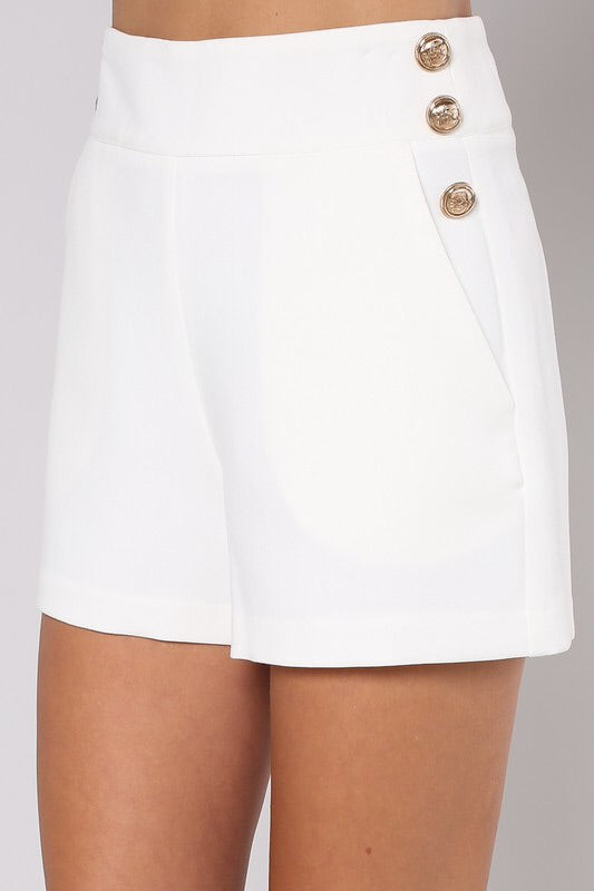 Lily White Embellished Shorts
