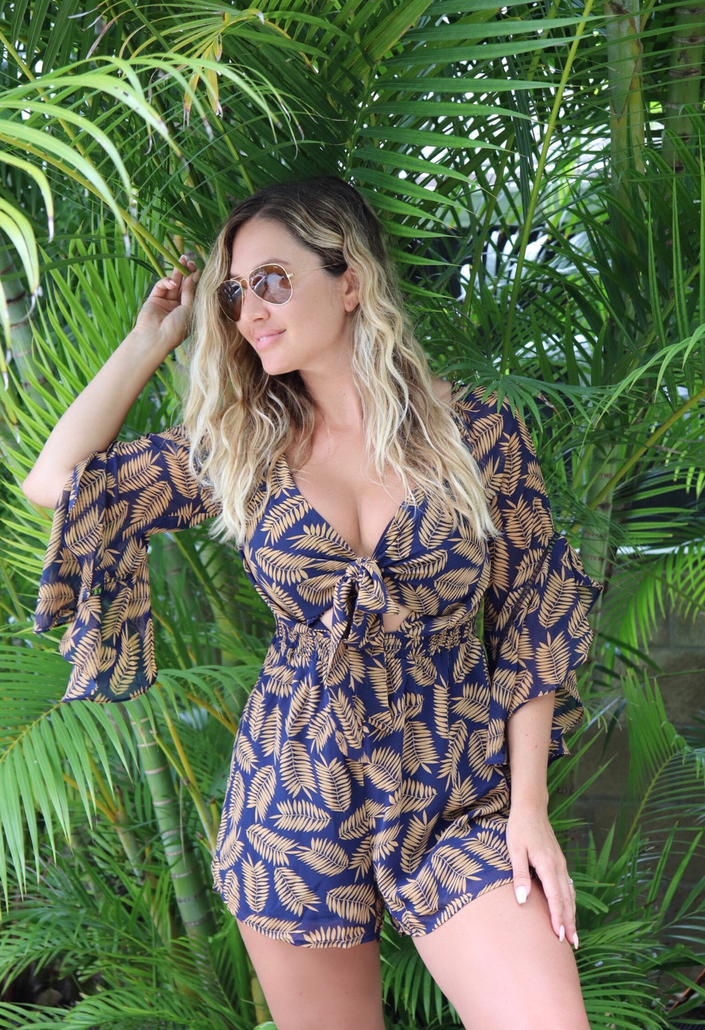 Golden Palm Leaf Romper