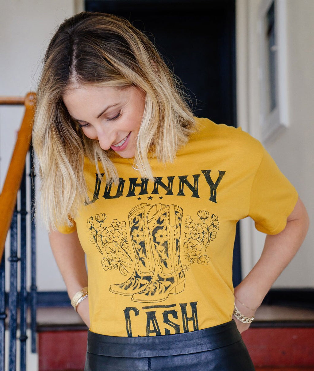 Johnny Cash Boots Boyfriend Tee In Gold
