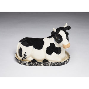 Black and White Cow Butter Dish