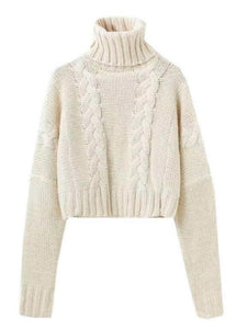 8be3671bb671d8 Blooms Salad 'Marshmallow' Braided Knit Cropped Turtleneck Sweater One of  your wardrobe Turtleneck sweater. '