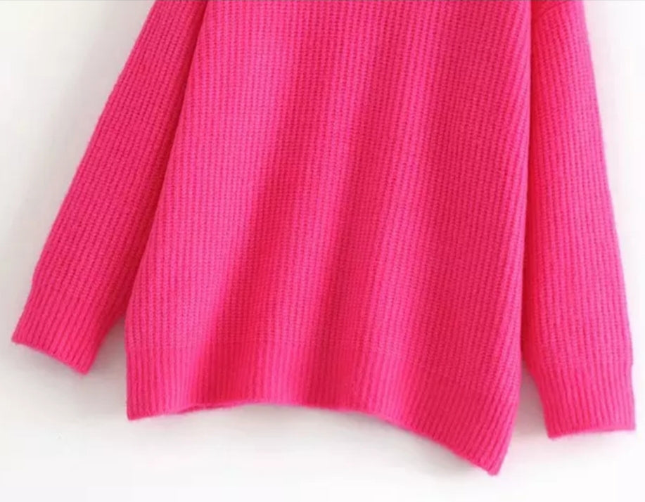 81b6fb81ee57a2 'BABE IN PINK' 2 COLORS TURTLENECK KNITTED SWEATER – BLOOMS SALAD
