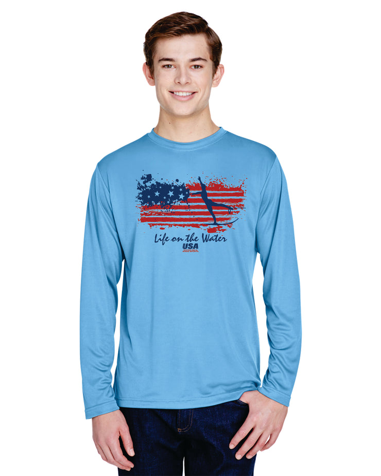 Mens Performance Flag Long Sleeve - Blue (Choose Your Discipline)