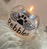 Personalised feather filled tea light holders