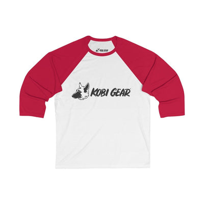 KOBI GEAR™ Unisex 3/4 Sleeve Baseball Tee Long-sleeve Printify White/Red L