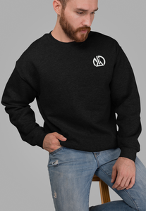 long sleeve embroidered crew neck black sweatshirt athletic fit