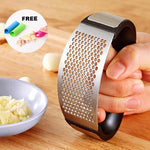 Premium Stainless Steel Garlic Press (with FREE 3 Pcs Silicon Garlic Peelers)