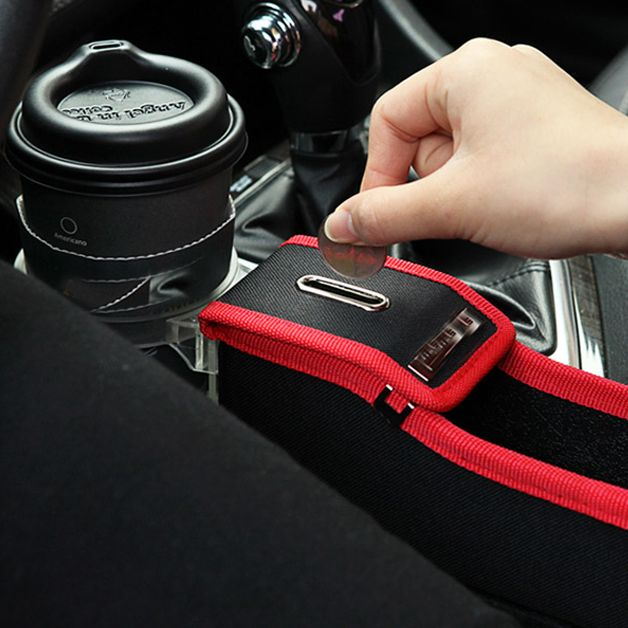 Car Seat Storage Box with Cup Drink Holder and Coin Case