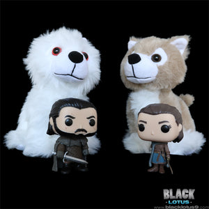Game of Thrones Ghost and Nymeria Direwolf Cub Plush Set