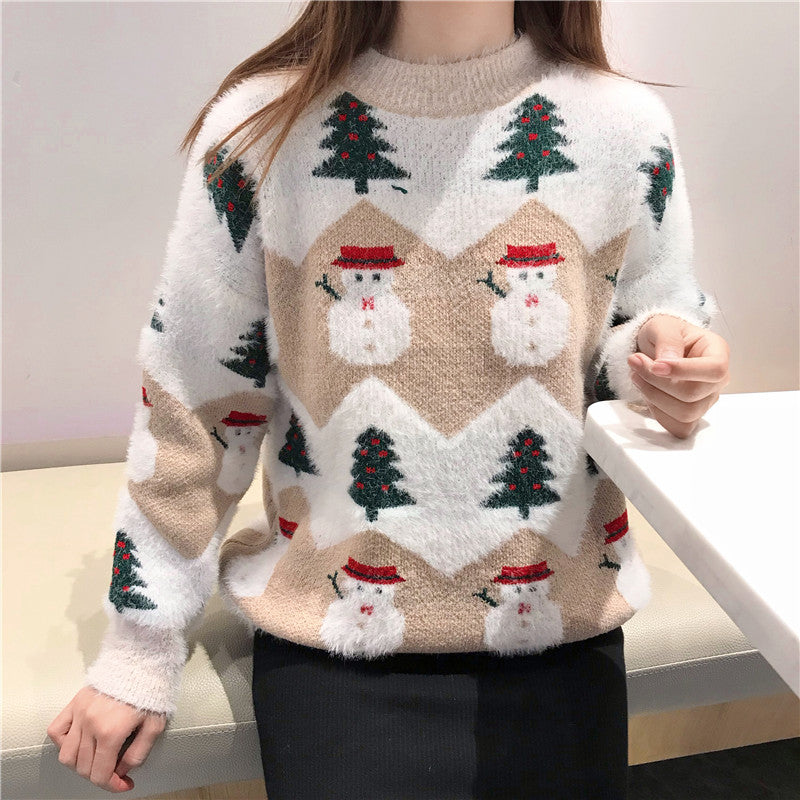 Snowman and Trees Holiday Sweater