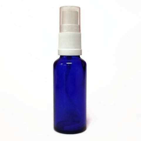 Glass Bottle 30ml Blue with White Mister Top