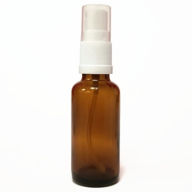 Glass Bottle 50ml Amber with White Mister Top