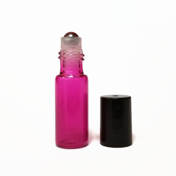 Roll On Bottle - Metal Roller 5ml PINK