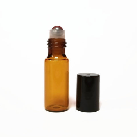 5ml Amber Roll On Bottle - Metal Roller