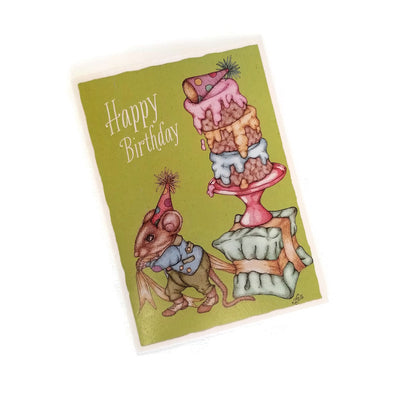 Leah Schell Blank Notecard - Birthday Mouse