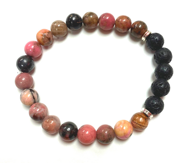 Diffuser Bracelet Gift Set Pink Rhodonite with Balance Yourself