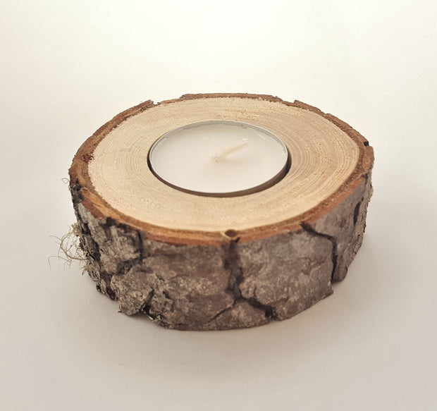 Raw Wood Tea Light Holder