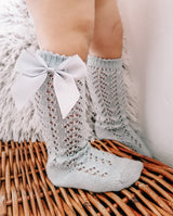 Openwork satin bow knee high socks