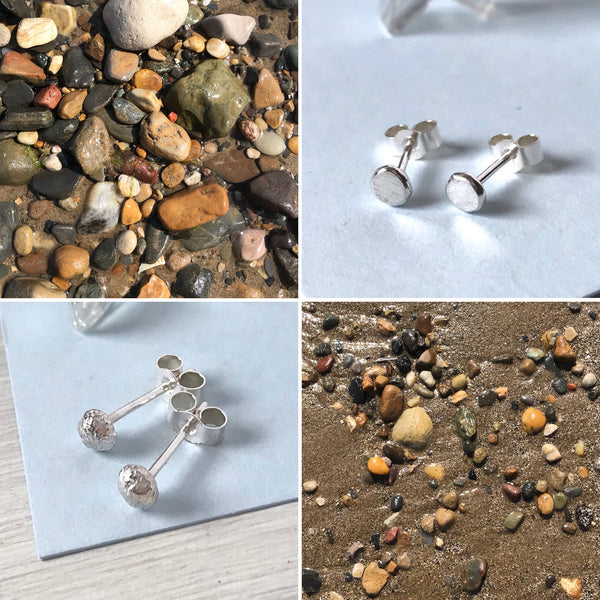 Recycled Silver Pebble Studs