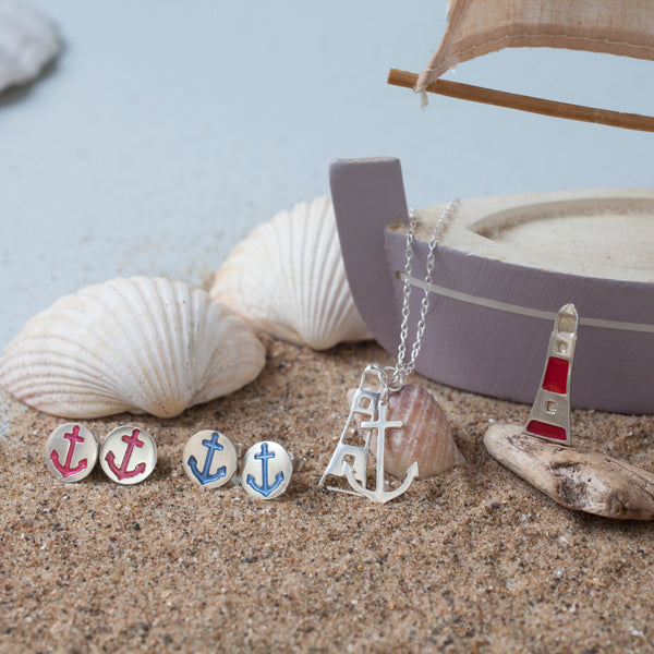 Anchor and Lighthouse Charm Pendant