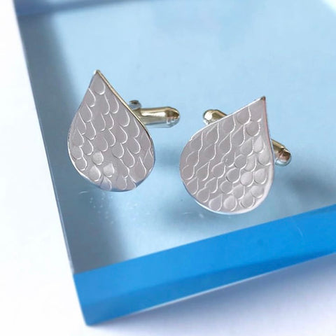 Textured Raindrop Cufflinks