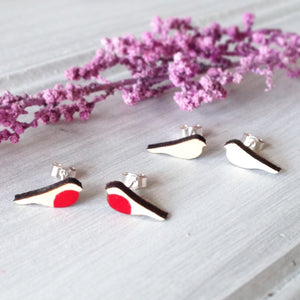 Wooden Robin Silver Studs