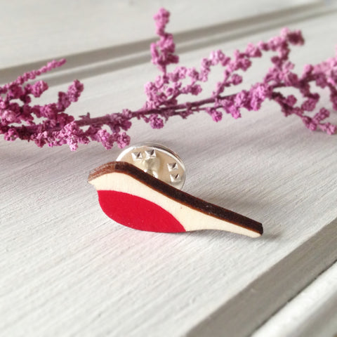 Wooden Robin Pin Brooch