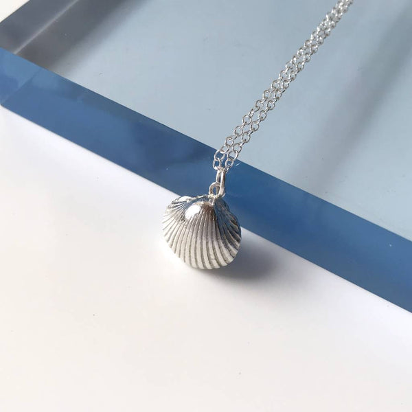 Solid Silver Cockle Shell Pendant