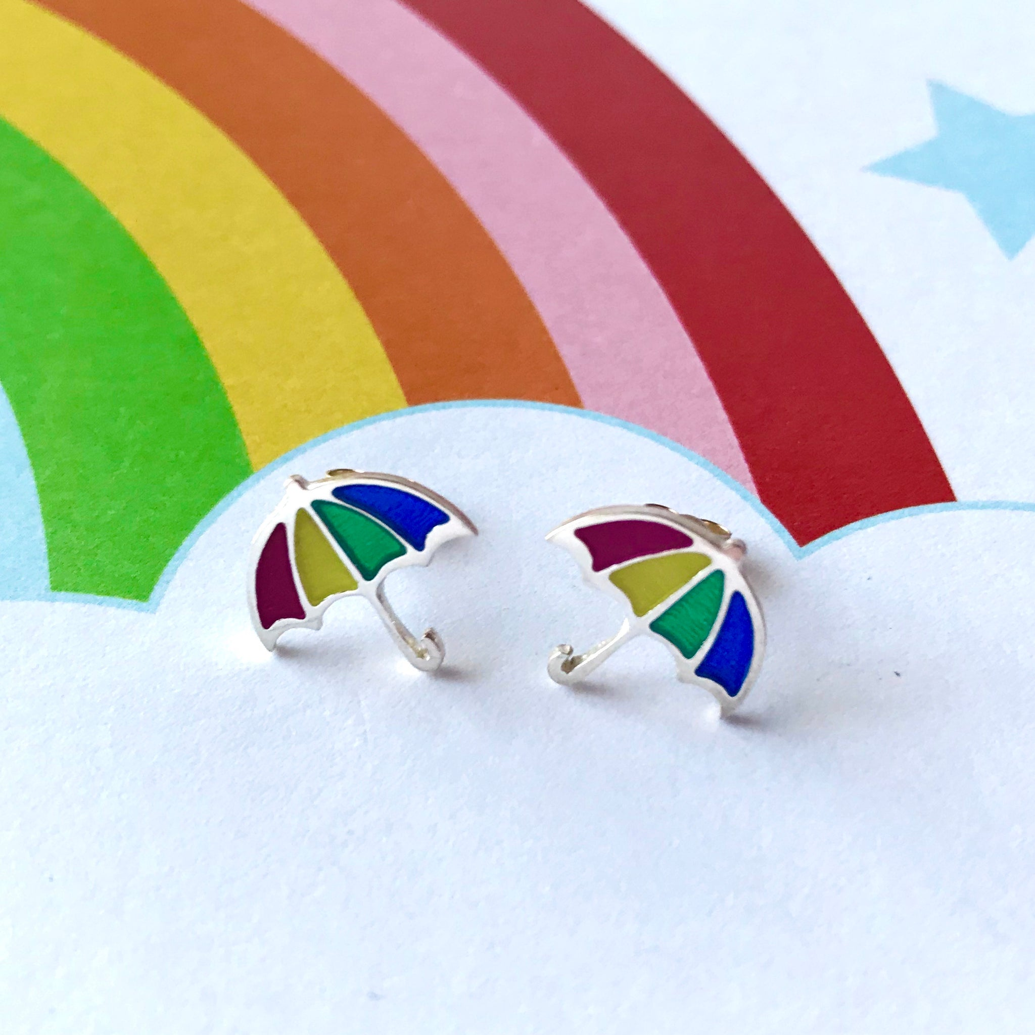 Rainbow Umbrella Studs