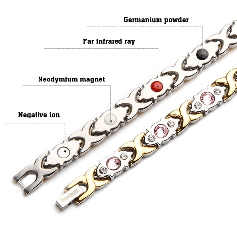 CrysGem Magnetic Stainless Steel Health Energy Women Fashion Bracelet