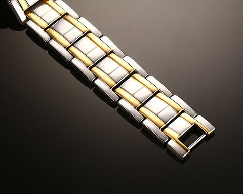 Energy Magnetic Health Plated Gold Titanium steel Bracelet for Men
