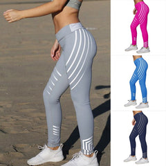 Striped Fitness Yoga Slim High Waist Sports Leggings