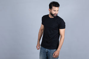 Super Comfort Black colour crew neck t-shirt. 100% Organic cotton t-shirt