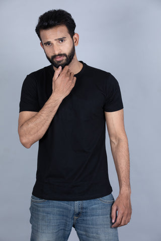 Bold Black Crew Neck T-Shirt