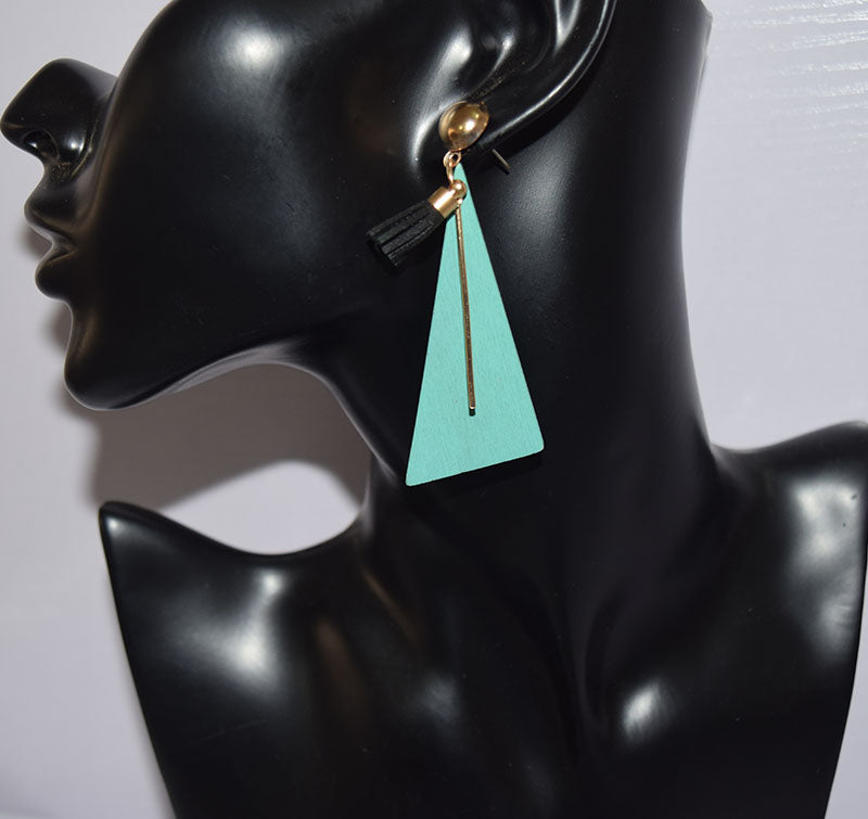 Triangle Shaped Drop Wooden Earring