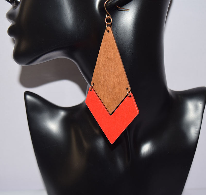 Trapezium Double legend Wooden Earring