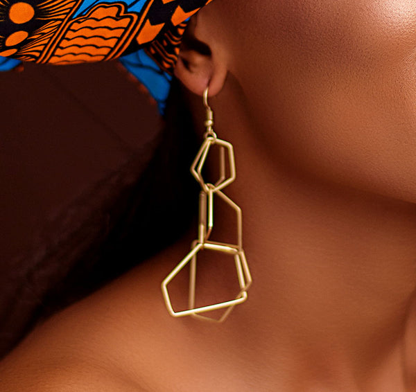 Polygonal Gold Drop Earrings