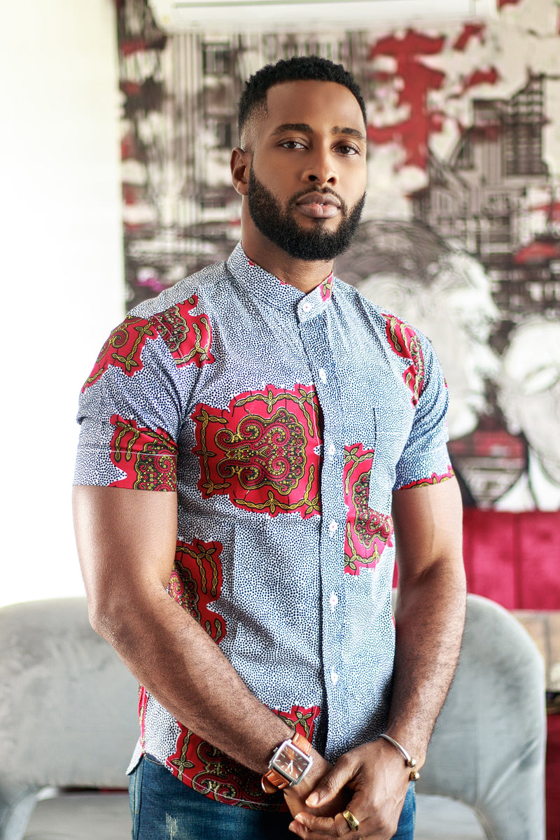 AFRICAN PRINT MEN'S JABARI SHORT SLEEVES SHIRT