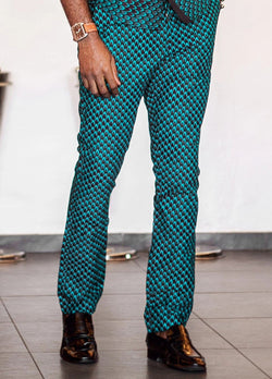 JAFARI MEN'S AFRICAN PRINT CLASSIC FIT PANTS