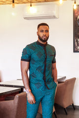 AFRICAN PRINT JAFARI  BUTTON UP MANDARIN COLLAR SHIRT SLEEVE SHIRT