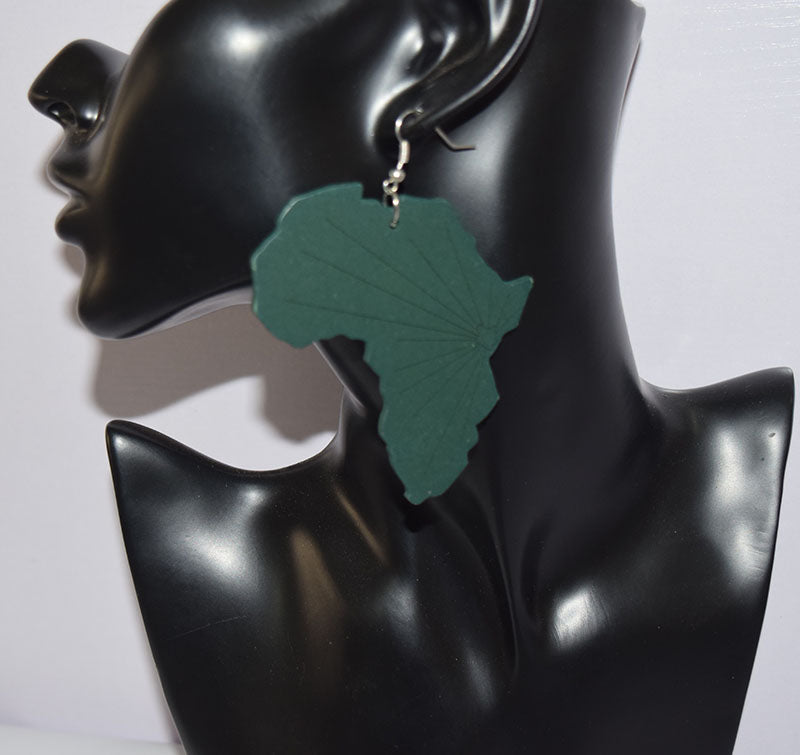 Wooden Shape of Africa map Jewelry ethnic African Drop Earrings