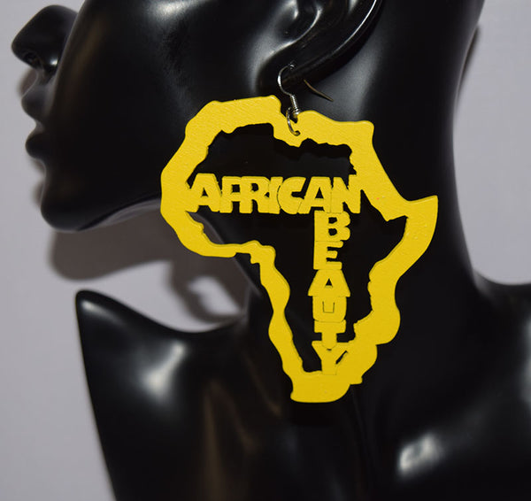 African Map with Writings Earrings