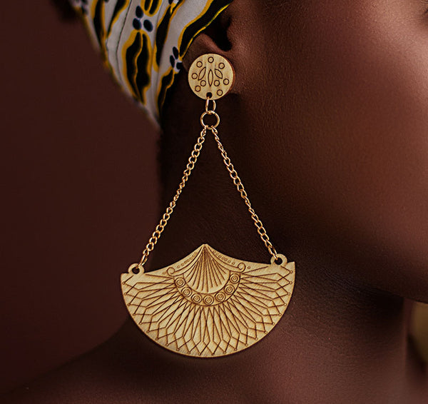 Wooden Semi-circular Drop Earrings