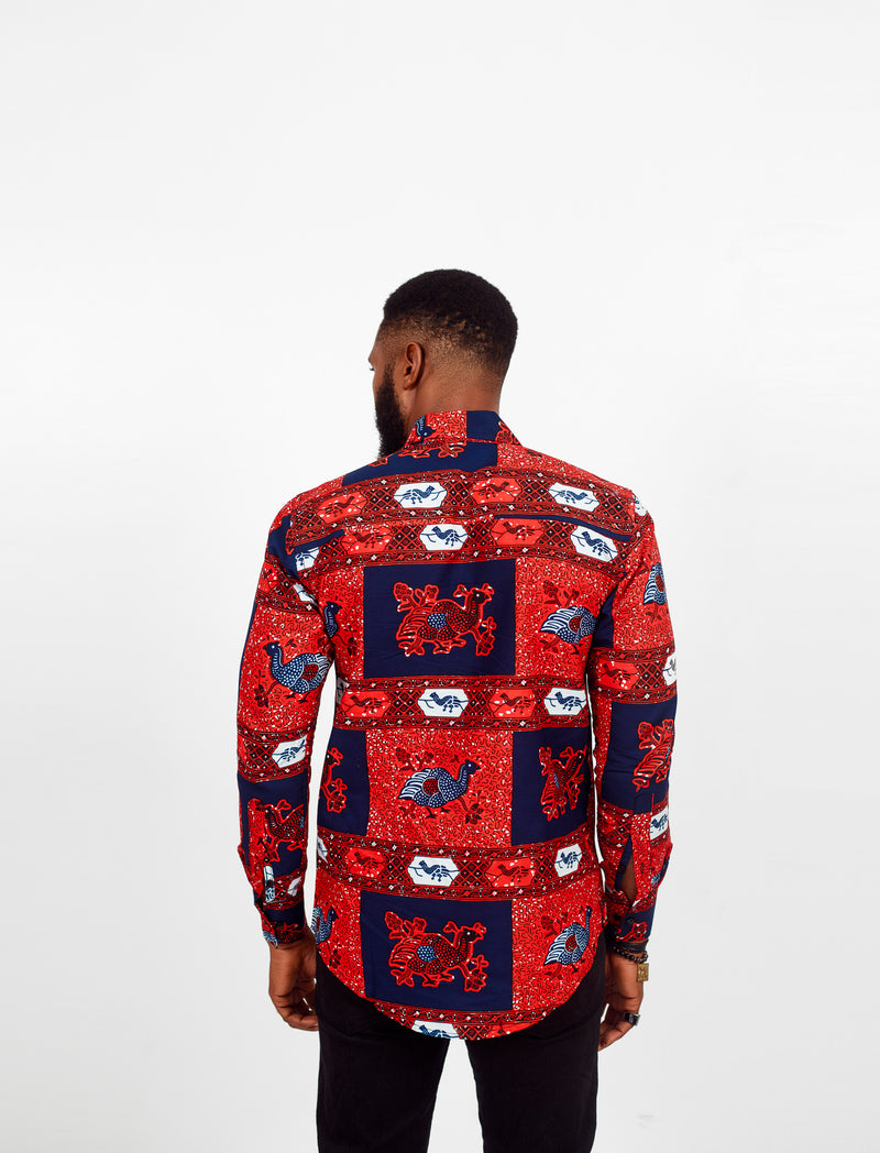 KASIYA LONG SLEEVE AFRICAN PRINT SHIRT