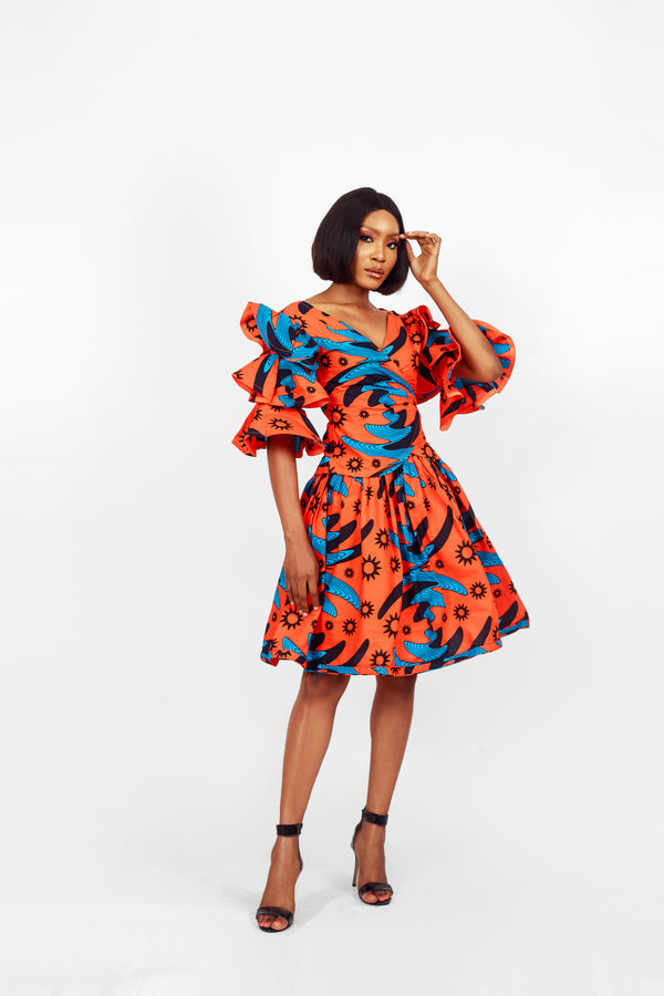African Print Fari Top & Skirt Set