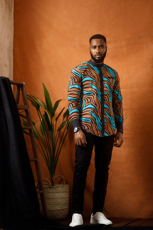 DUKA LONG SLEEVE AFRICAN PRINT SHIRT