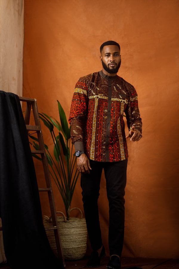 LENCHO LONG SLEEVE AFRICAN PRINT SHIRT