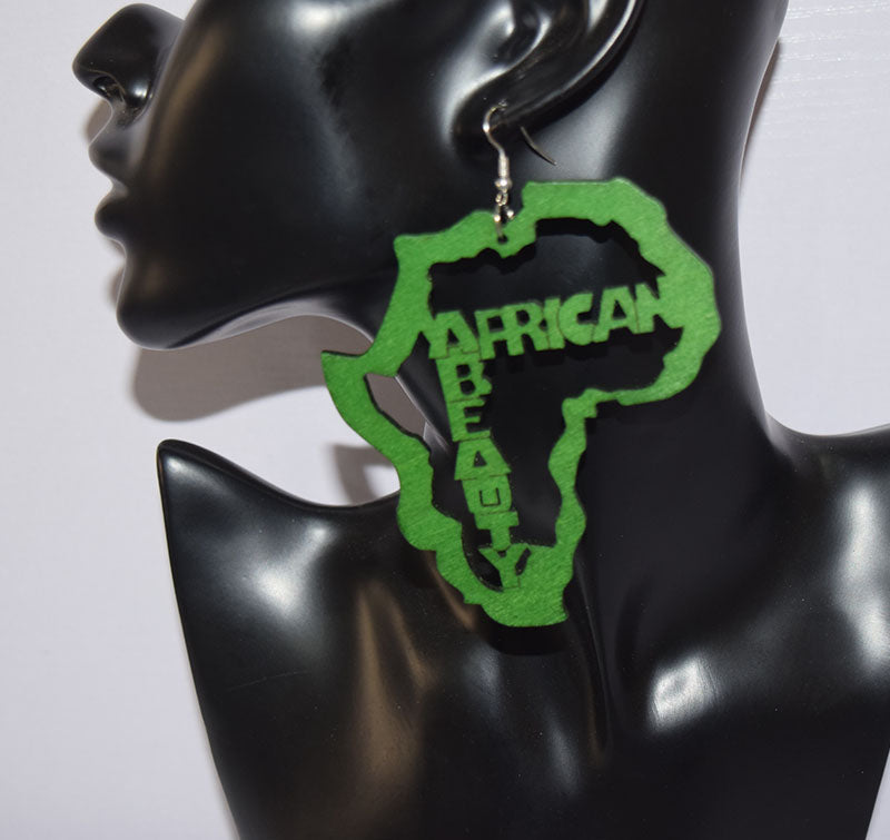 African Map with Writings Earrings Wooden Earring