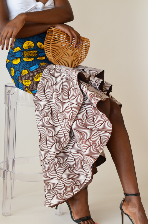 African Print Zila Skirt Brown